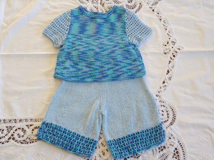 ensemble d`été tricot,crochet,ref 0551, 3 mois. disponible