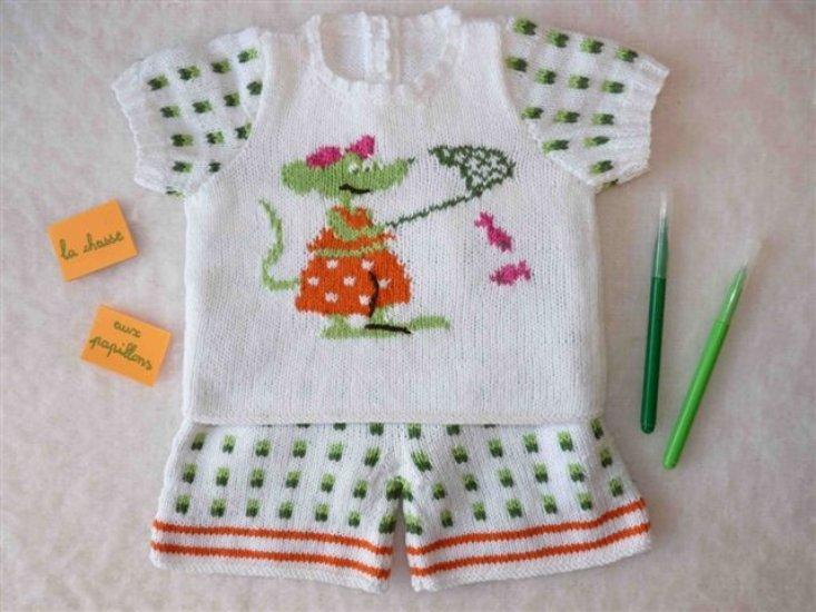 pull et short assorti,dessins jacquard en coton - tricot fait main Sosabel