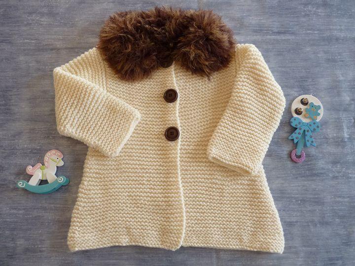 manteau écru et fourrure écru, 18 mois , ref 0539, disponible