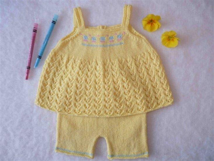 top et short en coton, taille 3 mois - tricot fait main Sosabel